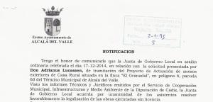 notificacion Cortijo El Guarda
